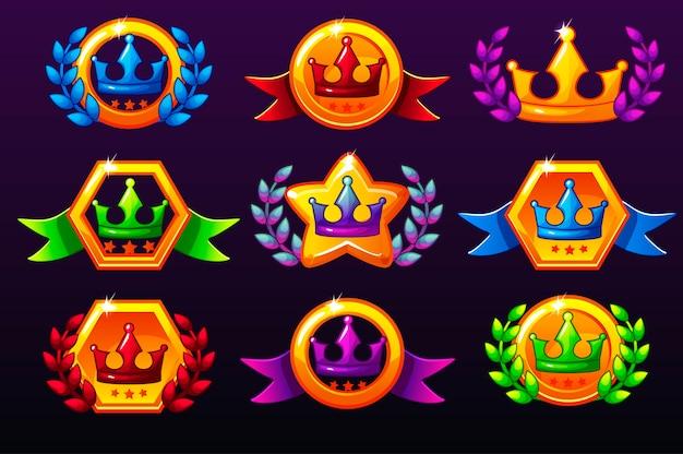 Kolorowe szablony koron ikon na nagrody, tworzenie ikon do gier mobilnych.