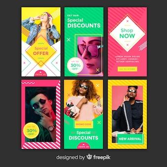 Kolorowe szablony opowiadań instagram