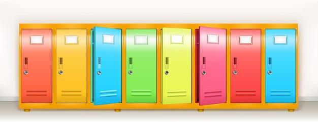 Kolorowe szafki wektor szkoła lub siłownia szatnia metalowe szafki rząd wielobarwnych schowków z ...