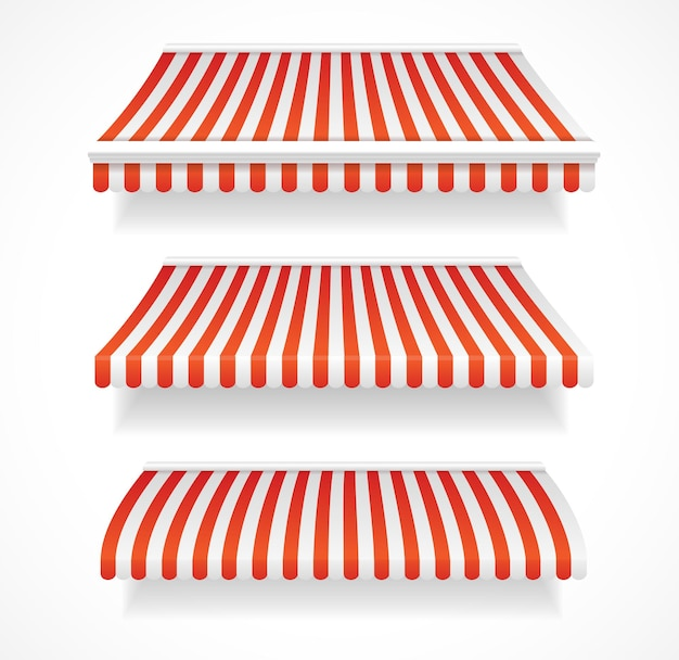 Kolorowe szczegółowe markizy do sklepu i restauracji ustawione na czerwono