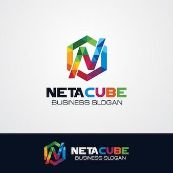 Kolorowe sześciokątne litera n logo