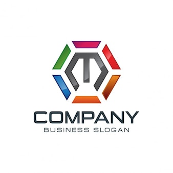 Kolorowe sześciokątne logo na literę m