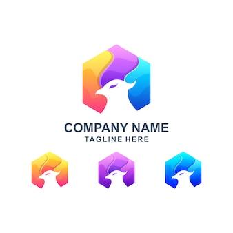 Kolorowe sześciokątne logo orła