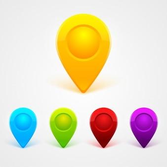 Kolorowe szpilki mapa ustawiona