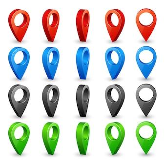 Kolorowe szpilki mapy 3d. umieść ikony lokalizacji i miejsca docelowego.