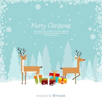 Kolorowe tło Boże Narodzenie z Płaska konstrukcja