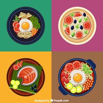 Kolorowe talerze projektowania żywności