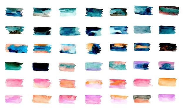 Kolorowe tekstury obrysu pędzla z akwarelą