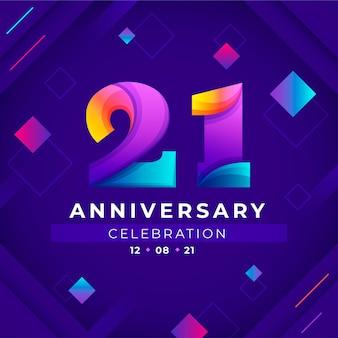 Kolorowe tło gradientowe 21 rocznica
