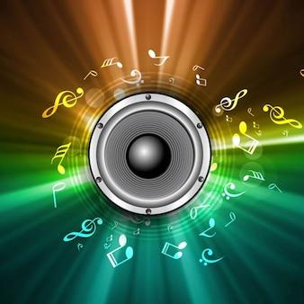 Kolorowe tło muzyczne głośników