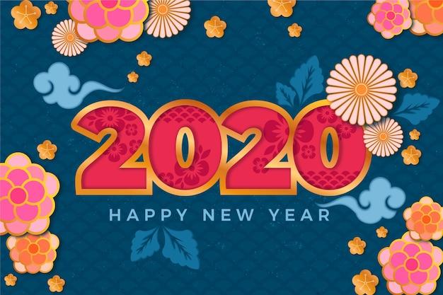 Kolorowe tło nowego roku 2020 w stylu papieru