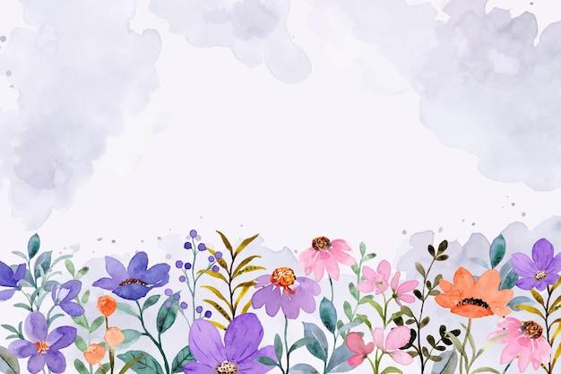 Kolorowe tło ogrodu dzikiego kwiatu z akwarelą