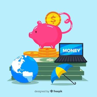 Kolorowe tło oszczędzania pieniędzy