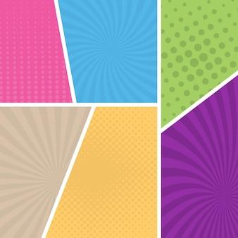 Kolorowe tło strony komiksu w stylu pop-art. pusty szablon z wzorem promieni i kropek. ilustracja wektorowa