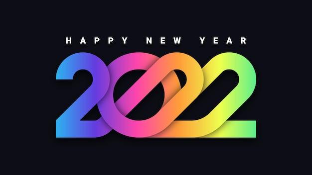 Kolorowe tło typografii szczęśliwego nowego roku 2022
