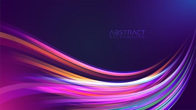 Kolorowe tło z falistym szlakiem światła neonowego