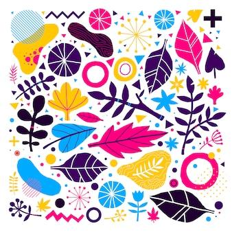 Kolorowe tło z ręcznie rysowane elementy kwiatowe