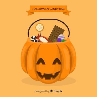 Kolorowe torby halloween cukierki z płaska konstrukcja