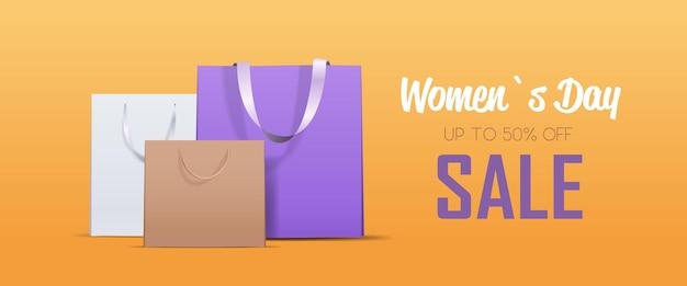 Kolorowe torby na zakupy dzień kobiet 8 marca wyprzedaż świąteczna oferta specjalna koncepcja zakupów kartka z życzeniami plakat lub ulotka pozioma ilustracja
