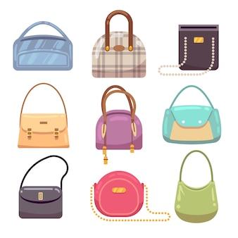 Kolorowe torebki damskie, akcesoria kobieta wektor zbiory. torebka luksusowa, kobieca torba na akcesoria