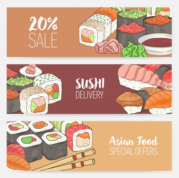 Kolorowe transparenty poziome szablony z ręcznie rysowane japońskie sushi, bułki, sashimi wasabi, pałeczki.