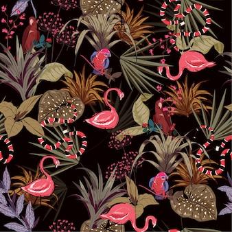 Kolorowe tropikalne kwiaty nocy liści palmowych