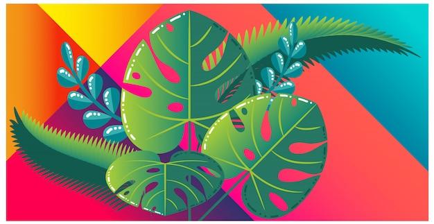 Kolorowe tropikalne liście na żywe tło