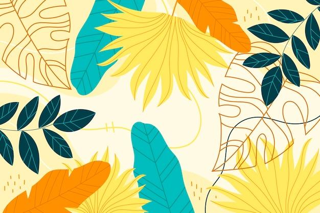 Kolorowe tropikalne tapety z pustą przestrzenią