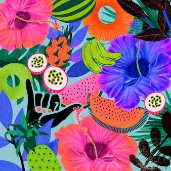 Kolorowe tropikalne tło wzór