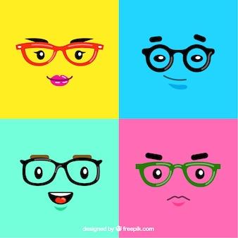 Kolorowe twarze z okularami