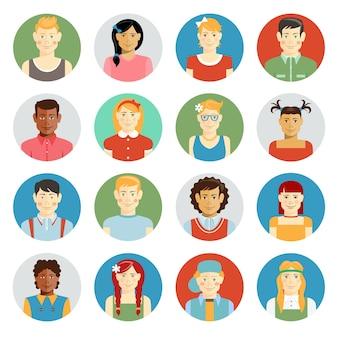 Kolorowe uśmiechnięte dzieci wektor avatar zestaw z wielorasowymi dziećmi o różnym pochodzeniu etnicznym