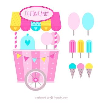 Kolorowe wacikowe wózek i lody