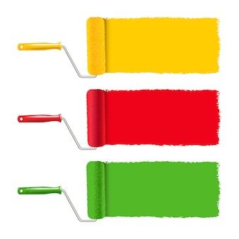 Kolorowe wałek do malowania i malowanie obrysu białe tło