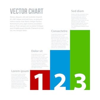 Kolorowe wektorowe wykresu z tekstem i liczb.