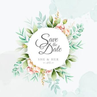 Kolorowe wesele zaproszenie z akwarela kwiatowy ramki
