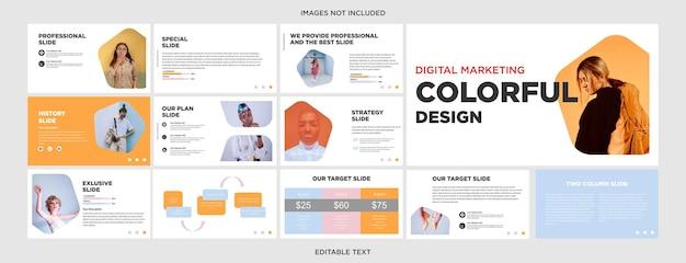 Kolorowe, wielofunkcyjne slajdy do prezentacji mody