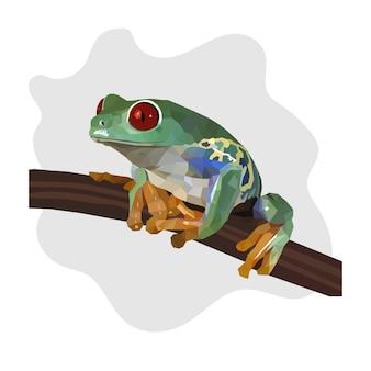 Kolorowe wielokątne geometryczne zwierzę żaba