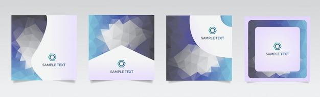 Kolorowe wielokątne okładki. minimalny wzór geometryczny