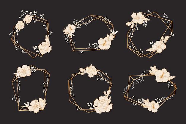 Kolorowe wielokątne ramki z eleganckimi kwiatami