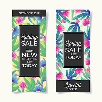 Kolorowe wiosenne banery sprzedaż