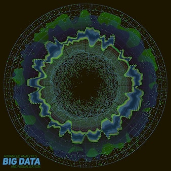 Kolorowe wizualizacje big data. futurystyczna plansza. estetyka informacji. wizualna złożoność danych. złożona grafika wątków danych. reprezentacja w sieciach społecznościowych. abstrakcyjny wykres danych.