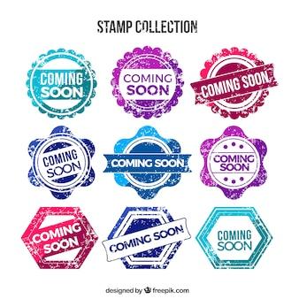 Kolorowe wkrótce znaczki w stylu retro