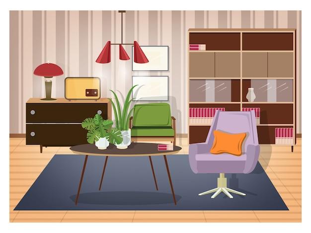 Kolorowe wnętrze salonu urządzone w staromodnym stylu.