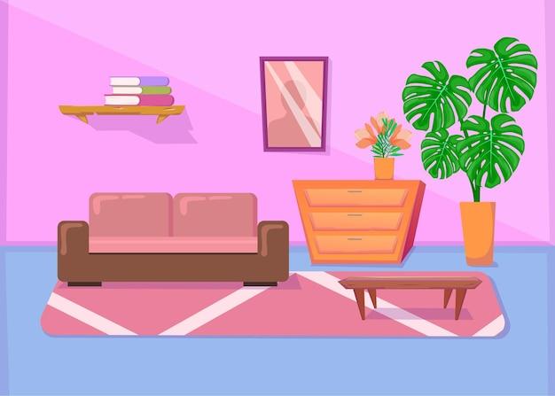 Kolorowe wnętrze salonu z sofą i innymi meblami. ilustracja kreskówka