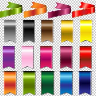 Kolorowe wstążki zestaw ilustracji na białym tle