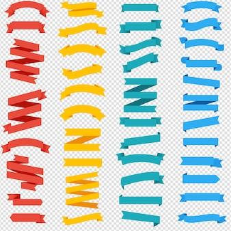 Kolorowe wstążki zestaw na białym tle przezroczyste tło