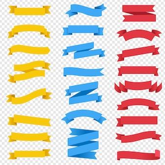 Kolorowe wstążki zestaw przezroczyste tło z siatki gradientu, ilustracja