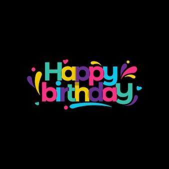 Kolorowe wszystkiego najlepszego z okazji urodzin na czarnym tle