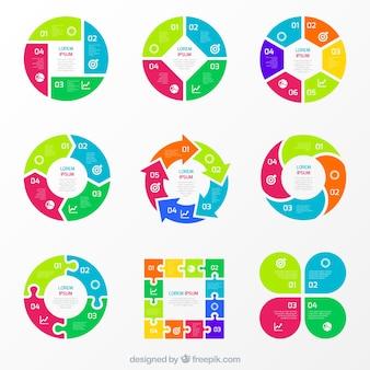 Kolorowe wykresy dla infografika