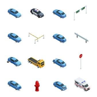Kolorowe wypadki samochodowe izometryczne ikony ustaw z karetką policji ewakuacji i znak drogowy na białym tle